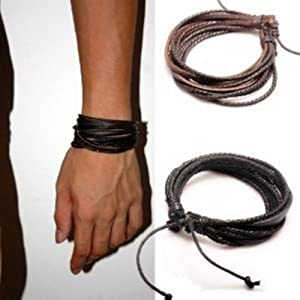 Original Tribe 2-pack Leather Black & Brown Bracelets - Fashion Adjustable Leather Wristband and Rope Cuff Bracelet - Great for Men, Women, Teens, Boys, Girls Sl1