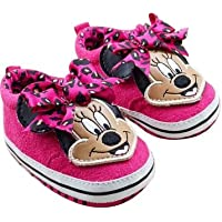 Baby Bucket Pre-Walker Shoes Light Weight Soft Sole Dark Pink Color MICKEYS FACE Booties (12-18 Months)