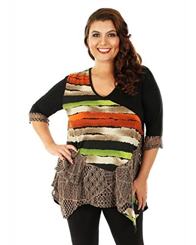 Aster by Firmiana Plus Women's Crochet Accent Tunic