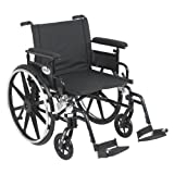 Drive Medical Viper Plus GT Wheelchair with Removable Flip Back Adjustable Arms, Full Arms, Swing Away Footrests, 22-Inch