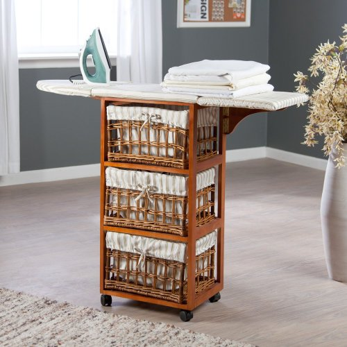 Showtime Wood Wicker Ironing Board Center With Baskets, Wood, 45L In.