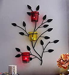 TIEDRIBBONS Decorative T-light candles holder /wall Sconce holder (Black, Metal)