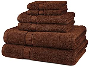Pinzon Egyptian Cotton 6-Piece Towel Set, Cocoa