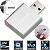 Sabrent Aluminum USB External Stereo Sound Adapter for Windows and Mac. Plug and play No drivers Needed. [Silver] (AU-EMAC)