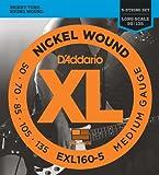 D'Addario EXL160-5 5-String Nickel Wound Bass Guitar Strings, Medium, 50-135, Long Scale