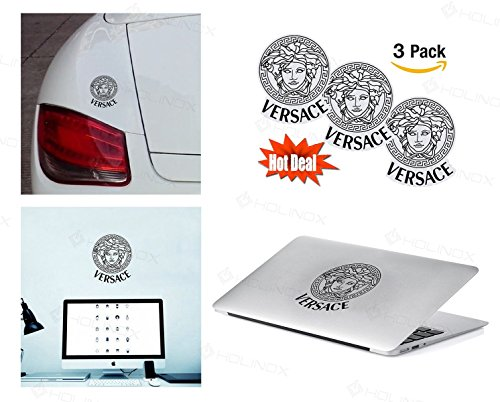 PACK of 3 Versace Sticker Decal for Macbook, Laptop ,Car Window, Laptop, Motorcycle, Walls, Mirror and More. MTS023