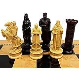 Medieval Times Crusades King Richard Lionheart Knight Chess Men Set Antique Color- NO BOARD