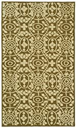 "2'6"" x 4'3"" Rectangular Oscar Isberian Rugs Area Rug Garden Row Color Hand Hooked China ""Martha Stewart Collection"" Bloomery Design"