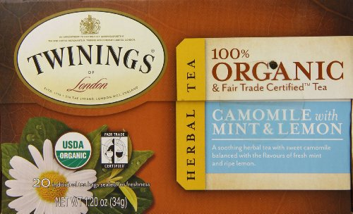 Twinings Camomile With Mint And Lemon Organic Tea, 20-Count Tea Bags (Pack Of 6 )