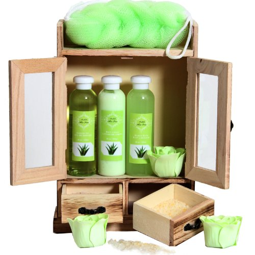 Brubaker Cosmetics 10 Pcs Beauty Gift Set Women Wooden Cabinet Aloevera Vanilla