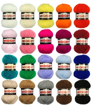Marriner Yarns Midget Double Knit Starter Bumper Pack | 20 x 25g Balls of Assorted Double Knitting Yarn | Colours Will Vary Depending On Availability | 100% Acrylic