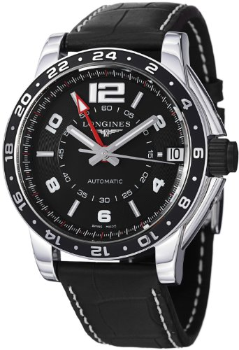 Longines Men's L36684562 Admiral Black Leather Strap Watch