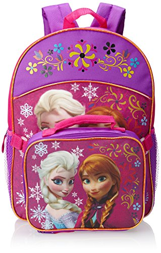 Fast Forward Little Girls'  Anna and Elsa Backpack with Lunch Set, Pink, One Size - 1