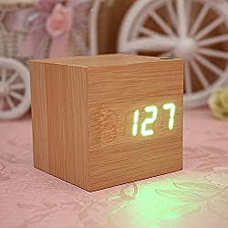 EasGear® Wooden Square LED Alarm Digital Desk Clock Thermometer Calendar