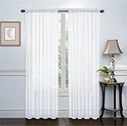 2 Pack Ultra Luxurious High Thread Rod Pocket Sheer Voile Window Curtains by GoodGram, 108 inches x 84 inches 274cm x 213cm - Assorted Colors , White