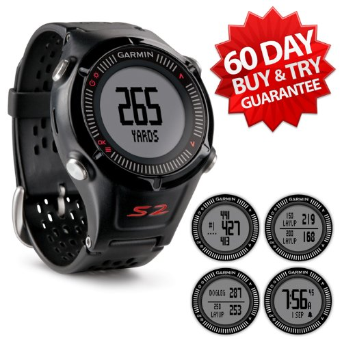 Garmin Approach S2 Golf GPS Watch (NEW VERSION w/ 30,000+ Courses) | 60-Day Buy & Try Return Policy! (Black)
