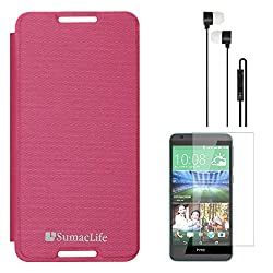 SumacLife Premium Flip Cover Case for HTC Desire 820S (Magenta) + Black Earphones + Matte Screen