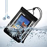 SumacLife Waterproof Case Dry Bag Pouch for Samsung Galaxt Tab 3 8 inch / Samsung Note 8.0 / ipad mini (Black) + Blue VanGoddy Headset With MIC