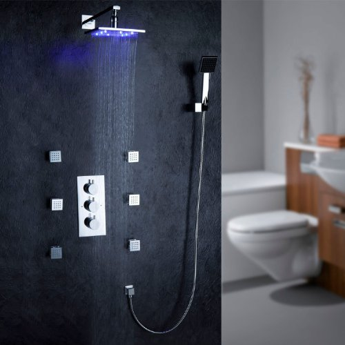 Fontana Led Wall Mount Thermostatic Shower Faucet With Bodysprays (Chrome Finish)