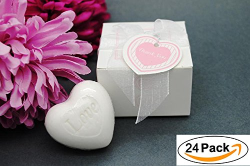 Aistore Cute Mini 24 Pieces Handmade Scented Soap Guests Keepsake Gift for Wedding Gift Baby Shower Favors, Parties, Thanksgiving Gifts (White Heart Style)