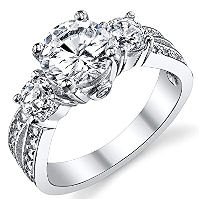 Past, Present, Future Sterling Silver Ring with 1.50 Carat Cubic Zirconia
