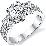 """Ultimate Metals Co. 1.50 Carat Round Brilliant Cubic Zirconia """" Past, Present, Future"""" Sterling Silver 925 Wedding Engagement Ring"""