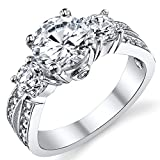"1.50 Carat Round Cubic Zirconia "" Past, Present, Future"" Sterling Silver 925 Wedding Engagement Ring 8"