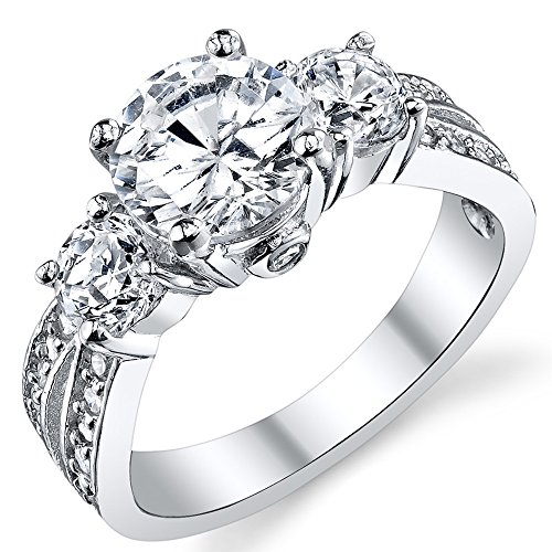 "1.50 Carat Round Cubic Zirconia "" Past, Present, Future"" Sterling Silver 925 Wedding Engagement Ring 7"