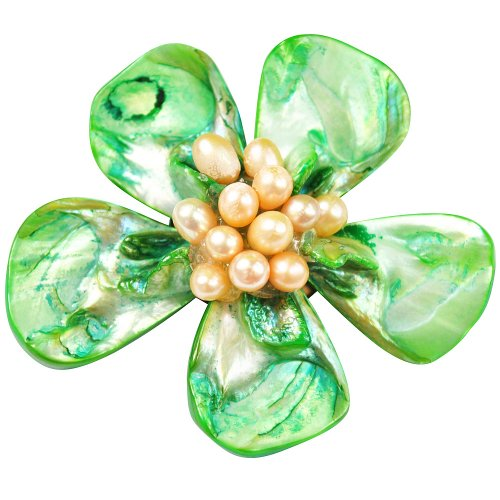 Pearl Brooch Pin - 5-6mm White Fresh Water Pearl And Green Shell Brooch (BR0015)