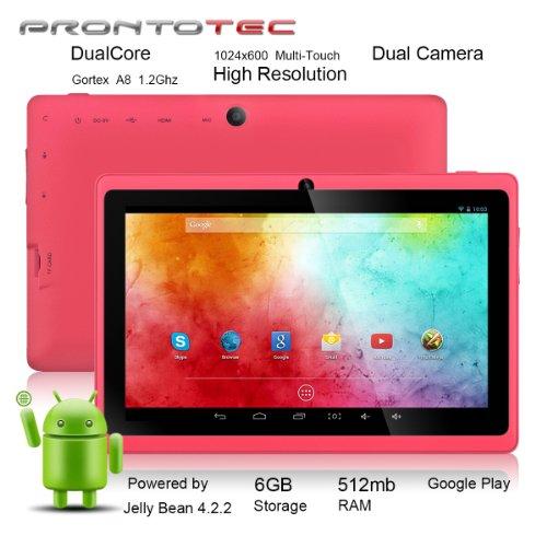 ProntoTec7インチ HDタブレット Android 4.2.2  HD 1024 x 600ピクセル  Cortex A8 1.2 GHzデュアル コア プロセッサ 512MB/6GBデュアル カメラ  HDMI  Gセンサー (ピンク)