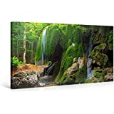 MOSSY FOREST WATERFALL - Premium Canvas Art Print - 40x20 inch Large Landscape Wall Art Deco - Canvas Picture Stretched on Wooden Frame as Modern Gallery Artwork / e4730