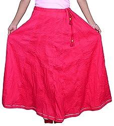 Pezzava Beautiful Cotton Solid Pink Long skirt