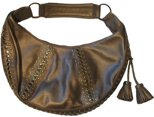 Junior Drake Studded Hobo Purse (Bronze)