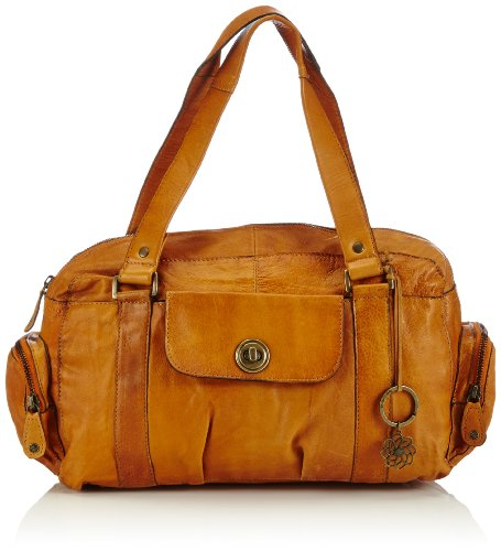 PIECES TOTALLY ROYAL LEATHER SMALL BAG13, Borsa a mano donna, Marrone (Braun (Cognac 18-1421 TCX)), 32 x 20 x 12 cm (B x H x T)