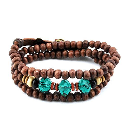 Sun Lorence Charm Style Brown Wooden Beads Multilayers Bracelet with Blue Crystal Stone