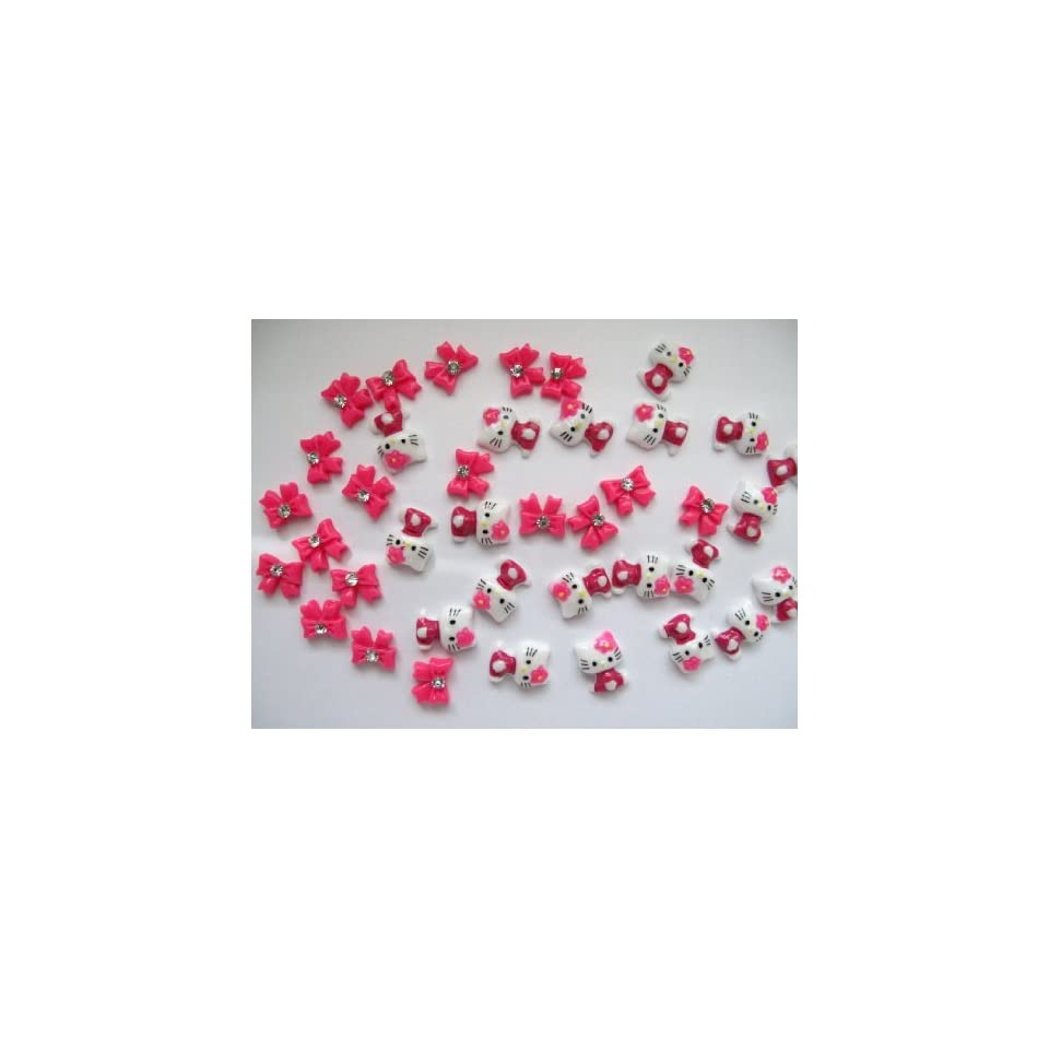 Nail Art 3d 40 Pieces Mix Hot Pink Hello Kitty/Bow for