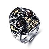 JewellryUS Bijoux Bague Homme Tête de mort Crâne,Gothique Motard Biker,Acier Inoxydable Diamant,Couleur Rouge Or Argent