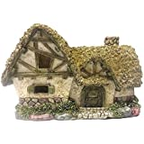Resin English Thatched Roof Garden Cottage With Vine Covered Stone Walls For Fairy Gardens, Crafting And Displaying
