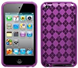 NEW PURPLE PLAID TPU CANDY SKIN CASE COVER FOR APPLE iPOD TOUCH 4 4G 4TH GEN