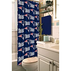 New England Patriots Fabric Shower Curtain Officially Licensed by the NFL