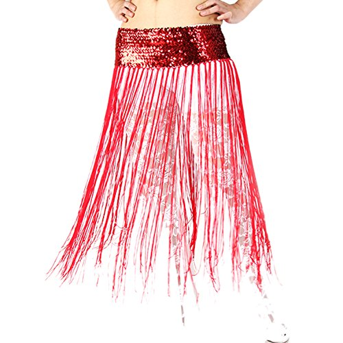 Urparcel Belly Dance Hip Scarf Costume Skirt Wrap Sequins Fringe Elastic Waistband
