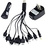 10 in 1 Multi Phone USB Charger Cable Car Charger Wall Charger - US Plug