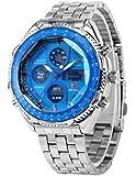 SHARK Mens LCD Digital Date Day Stopwatch Stainless Blue Dial Sport Wrist Watch SH110