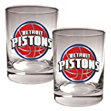 Detroit Pistons NBA 2pc Rocks Glass Set - Primary Logo