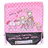 Carrots Girl's Bang Pony Zip Draw String Bag - Black/Pink