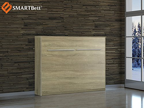 Schrankbett 140×200 cm Horizontal Eiche Sonoma, ideal als Gästebett – Wandbett, Schrank mit integriertem Klappbett, SMARTBett günstig kaufen