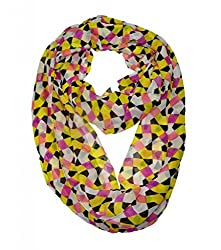 WishCart? Women's Infinity Scarf Loop Ring Light Weight Zig Zag Chevron Sheer Print,Size Bigger Then Others,Multi Color With 30 Different Colors-Yellow Rhombus