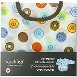 Kushies Waterproof Bib with Sleeves, White Circle, Toddler