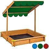 TecTake Sandkasten mit verstellbarem Dach Sitzbänke Spielhaus Holz Sonnendach Bodenplane