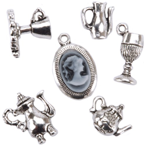 Blue Moon Madame Delphine-Feets Metal Charms, Teapots Cameo, Antique Silver, 6/Pkg